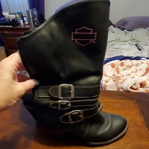 Black and pink Harley Davidson boots